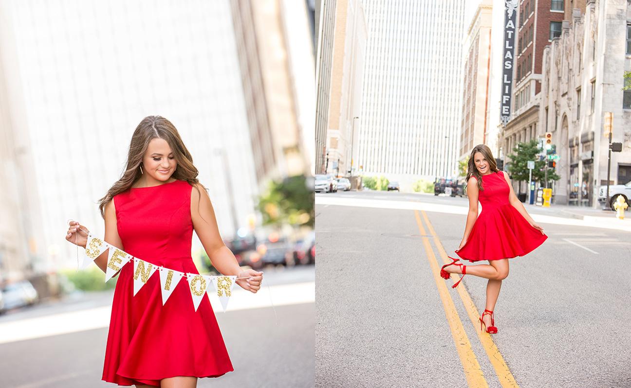 Tulsa Senior Portrait Photographer Girl Red Dress Silver Banner