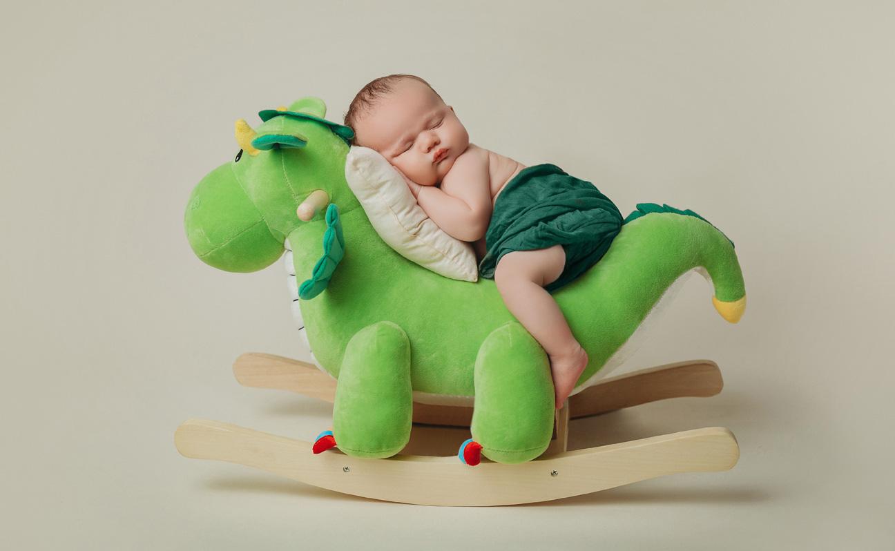 Tulsa Newborn Photographer Boy Green Dinosaur