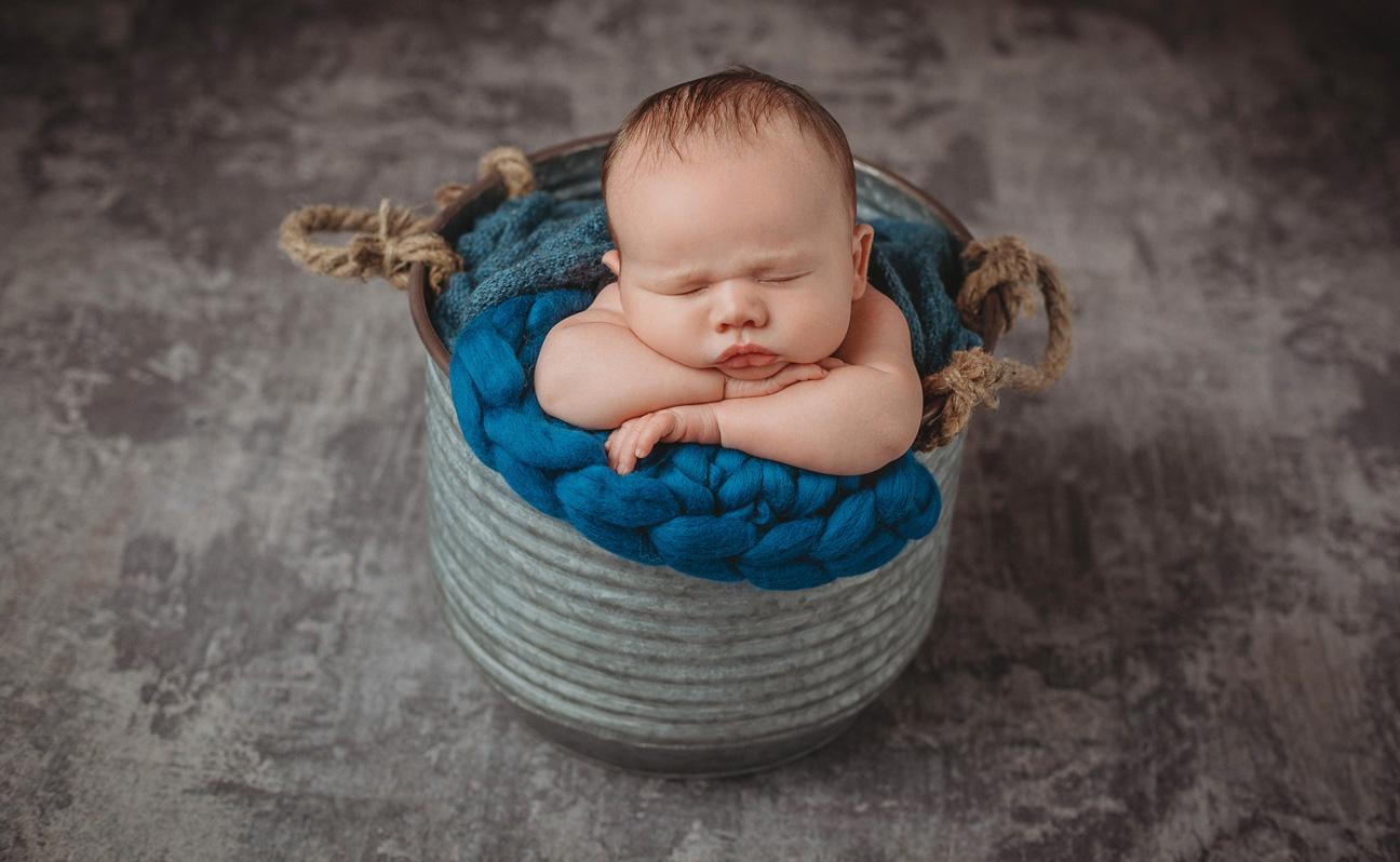 Tulsa Newborn Photographer Boy Blue Basket