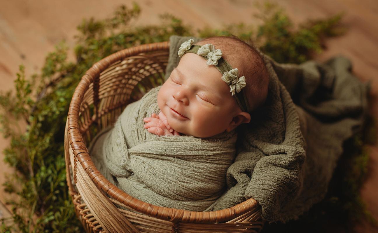 Tulsa Newborn Photographer Girl Basket Earth Tones