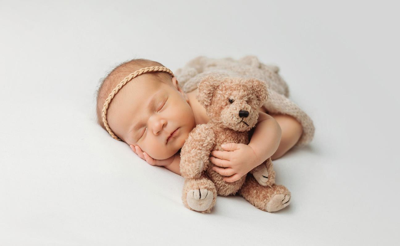 Tulsa Newborn Photographer Girl Teddy Bear