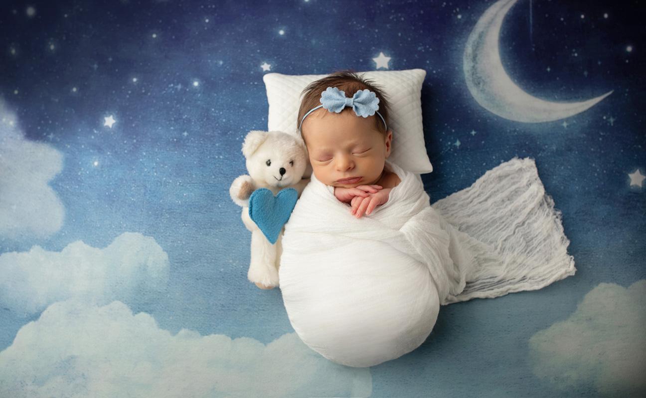 Tulsa Newborn Photographer Girl with Teddy Bear