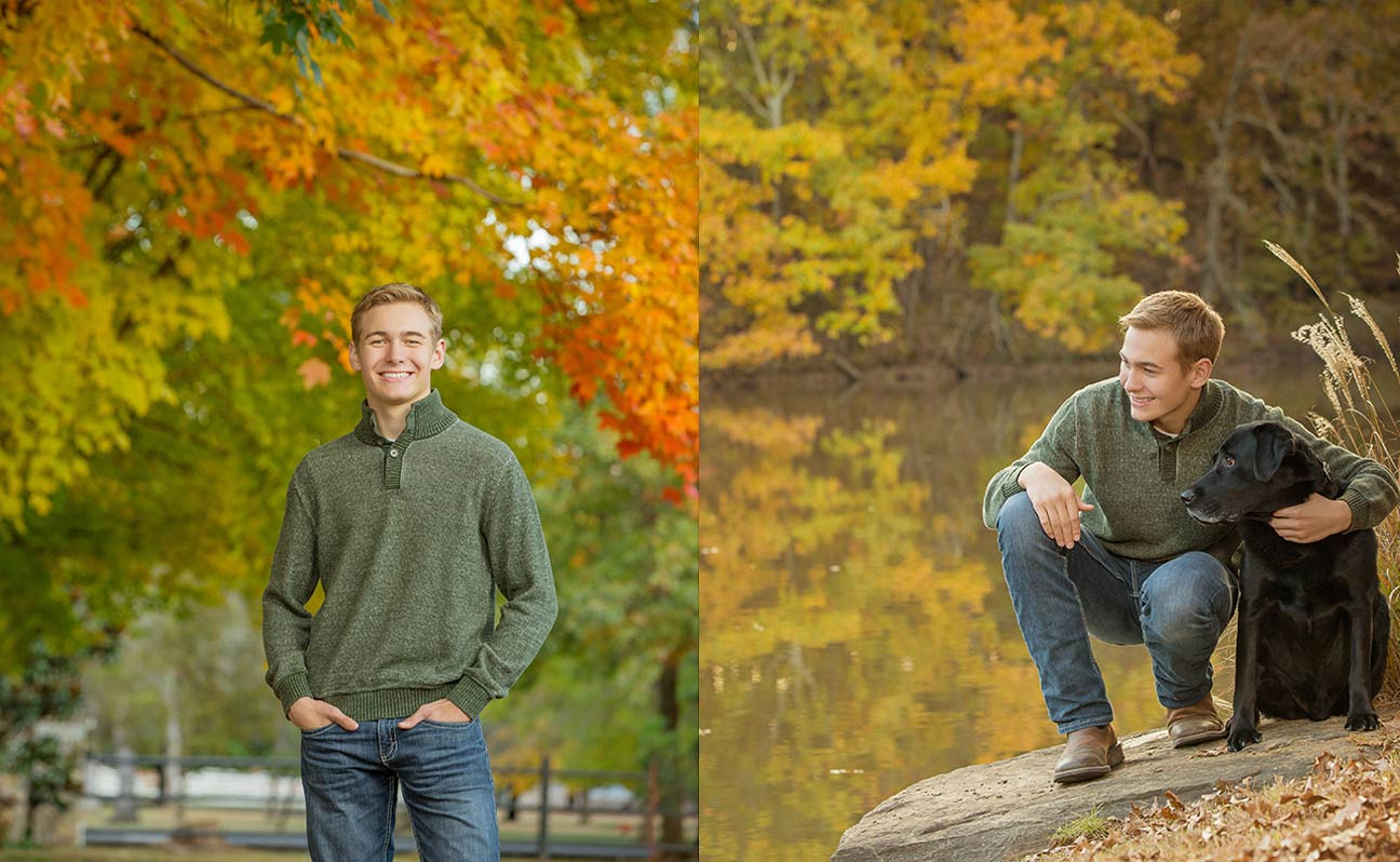 Tulsa Senior Portrait Photographer Boy Black Lab Fall Reflection