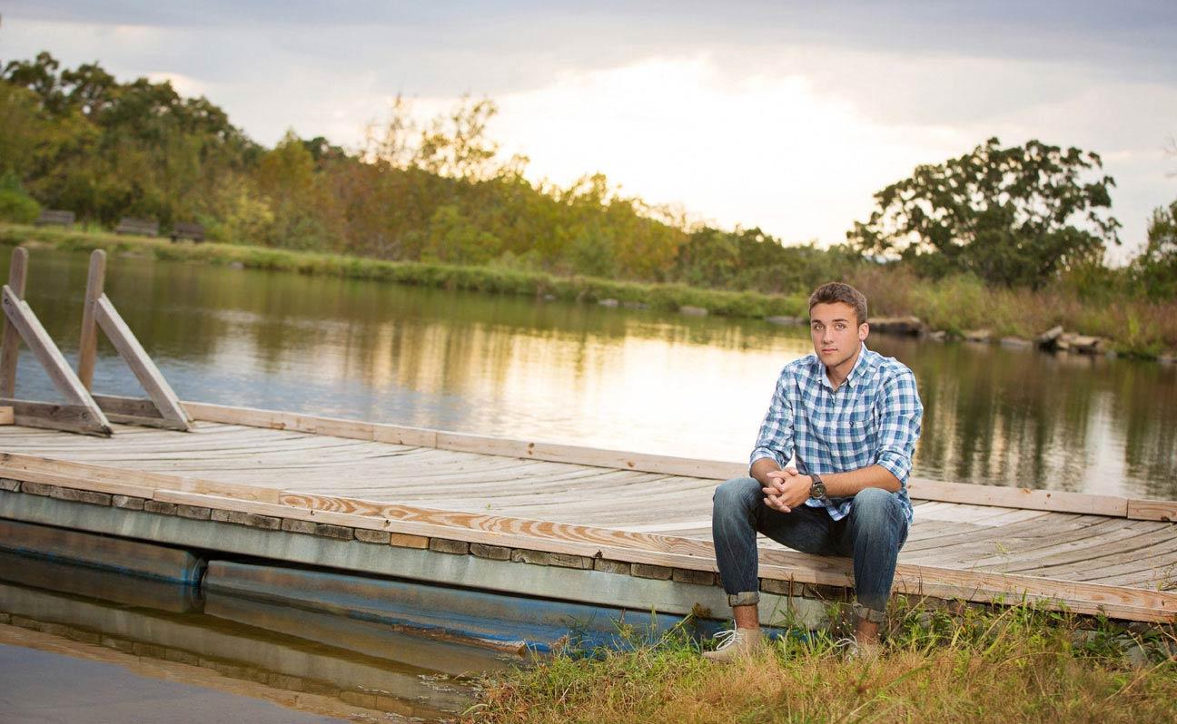 Tulsa Senior Portrait Photographer Boy on Dock