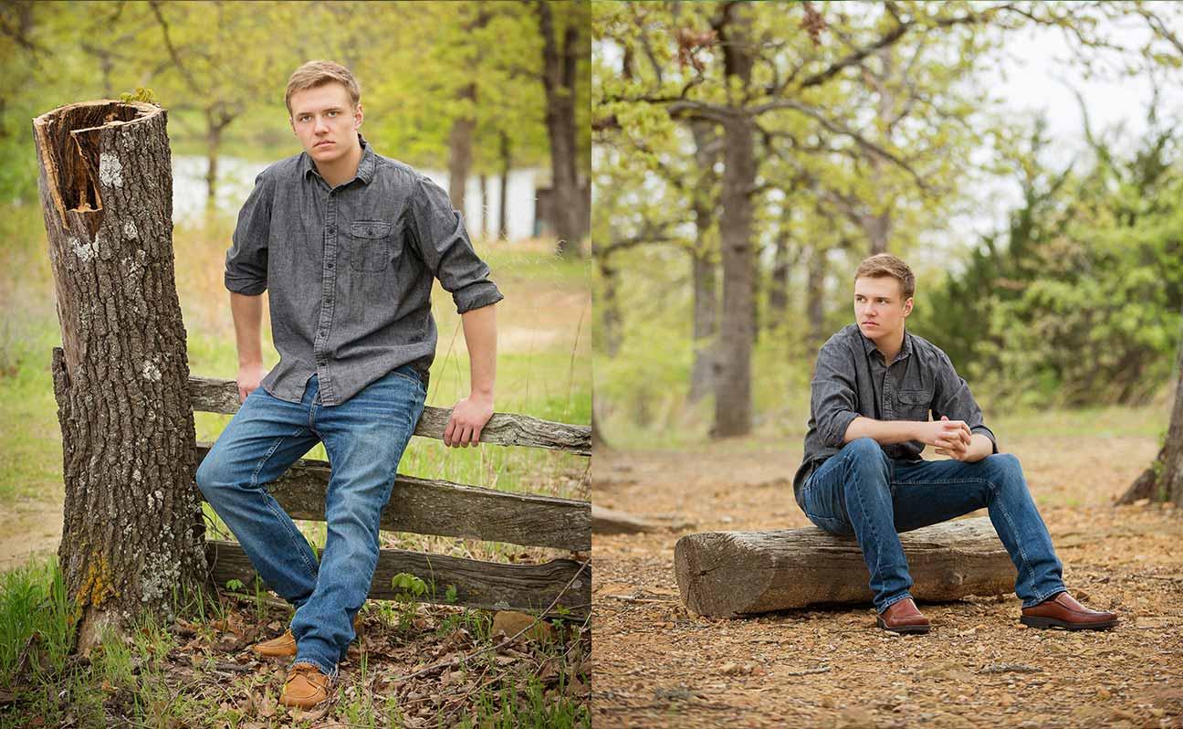 Tulsa Senior Portrait Photographer Boy Tree Stump