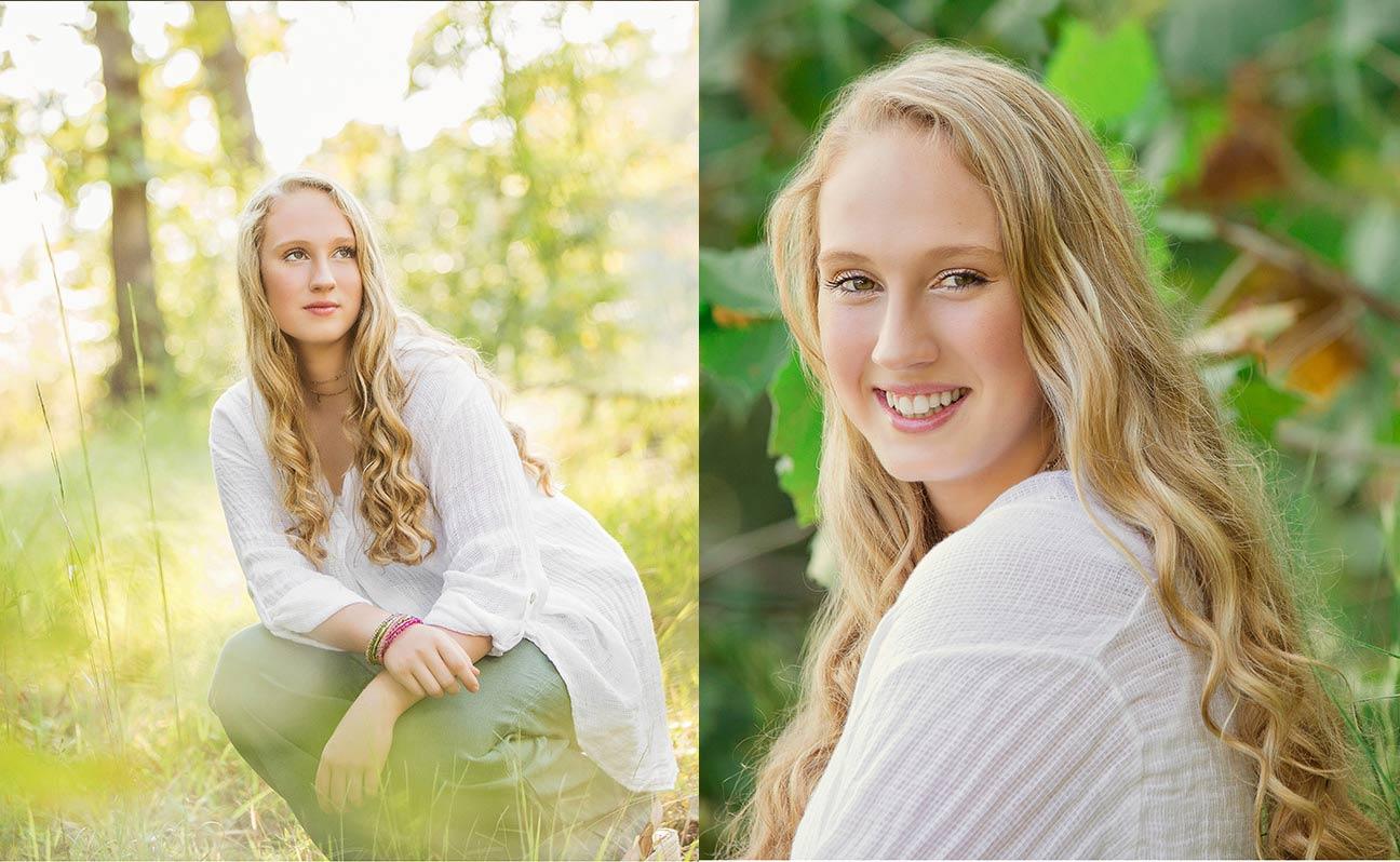 Tulsa Senior Portrait Photographer Girl Back Light Greenery
