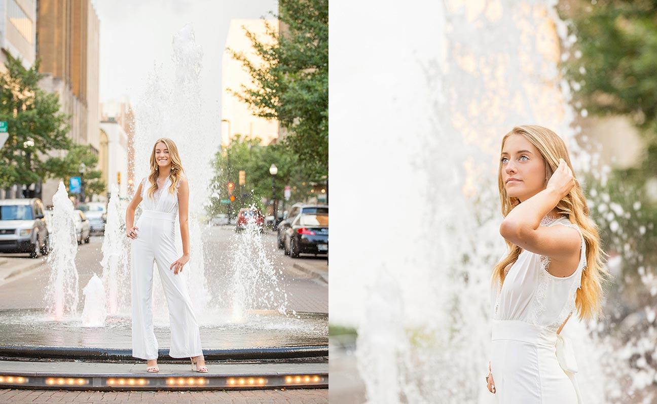 Tulsa Senior Portrait Photographer Girl Fountain