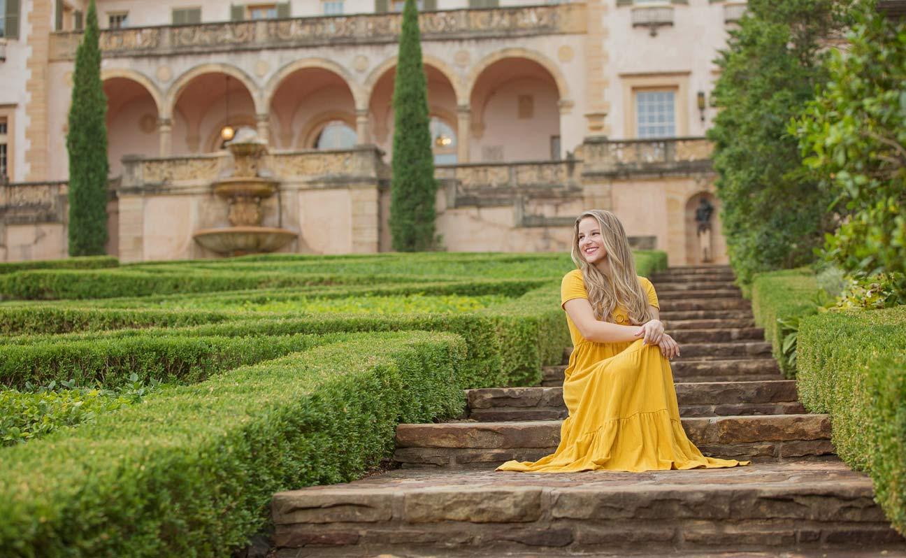 Tulsa Senior Portrait Photographer Girl Yellow Dress Hedge Maze